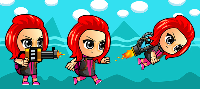 The Red Girl -Gun Adventure: android game Template