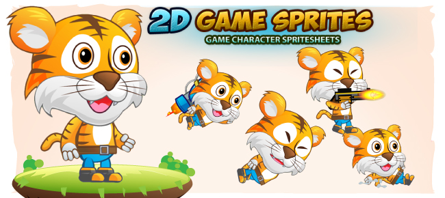 Tiger 2D Game Character Sprites