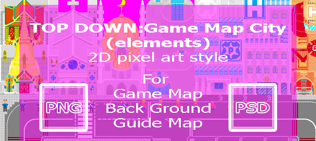 Top Down:Map City (Elements) 2D Pixel Art Style -