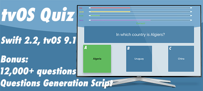 tvOS Quiz App Template 1 to 4 players - Swift 2.2