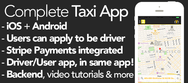 Uber/Lyft Clone (iOS + Android + Dashboard) - Taxi