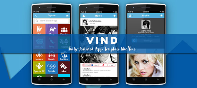 buy vind video app template like vine video and social networking for android. Black Bedroom Furniture Sets. Home Design Ideas