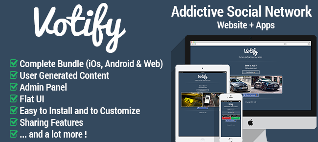 Votify: Viral / Addictive Social Network App & Web