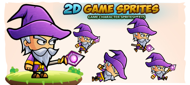 Wizard 2D Game Character Sprites