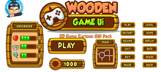 Wooden Cartoon Game Ui Set 03
