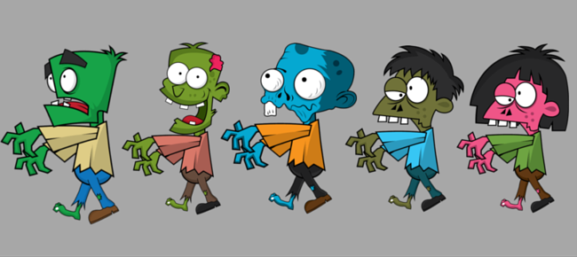 Zombies 2D Game Character Sprites